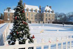 Extérieurs du Château de la Ferté St Aubin recouvert d'un manteau de neige.