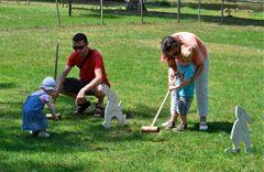 Partie du jeu de croquet dans le parc du château de la Ferté St Aubin.